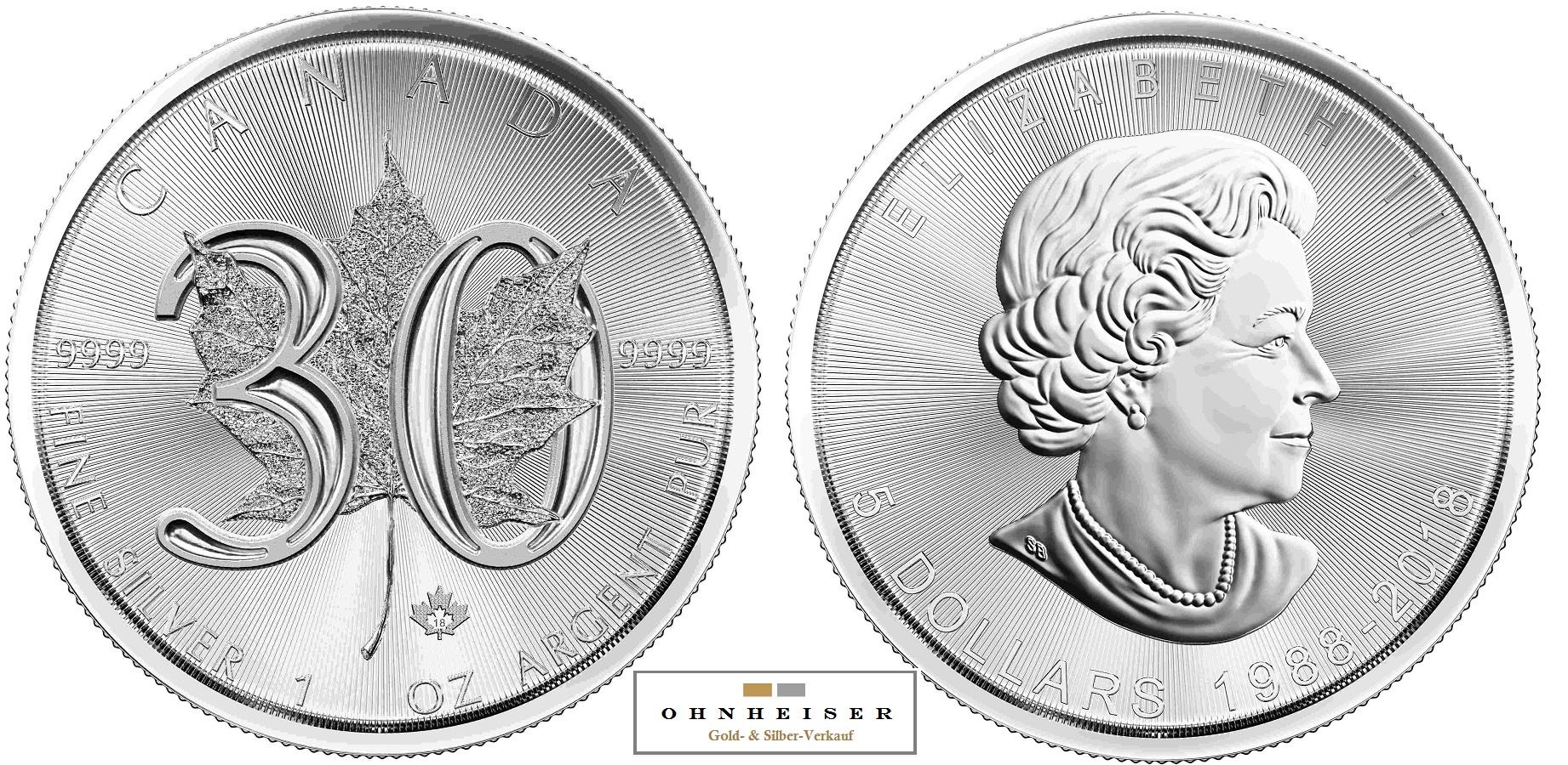 11 Oz Maple Leaf 30 Jahre Sonderprägung Tribute Coin 2018 Silber