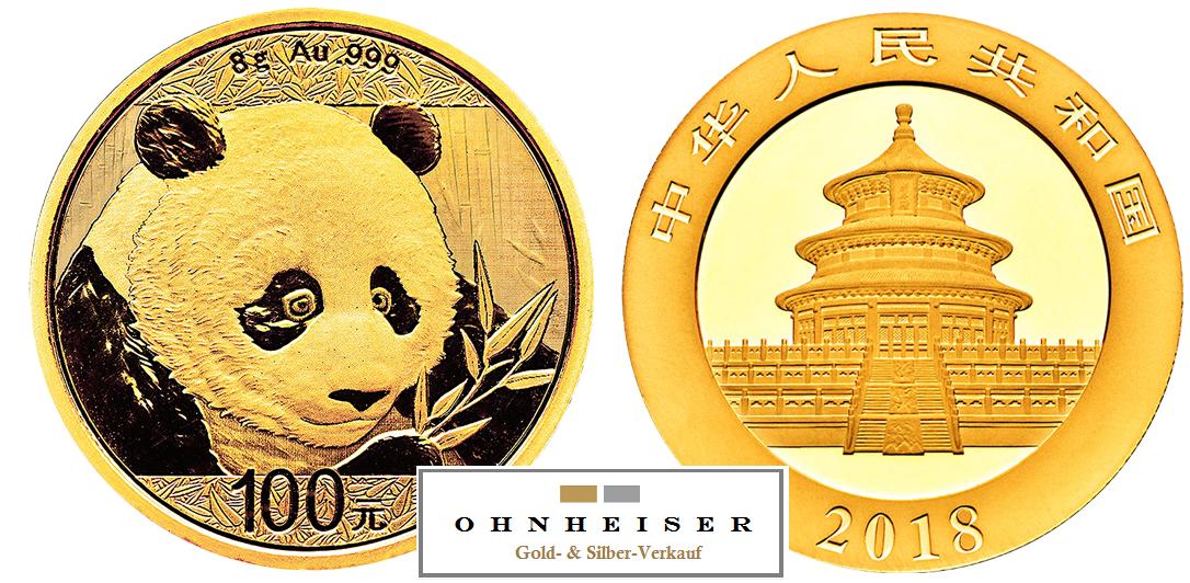 8 gramm china panda 2018 silber gold verkauf. Black Bedroom Furniture Sets. Home Design Ideas