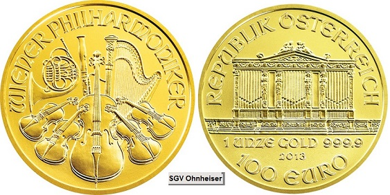 110 Oz Wiener Philharmoniker Gold Zehntel Unze Silber Gold Verkauf