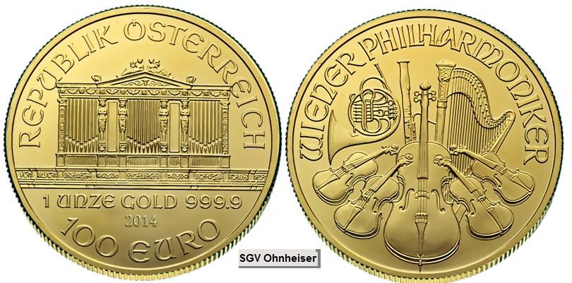 11 Oz Wiener Philharmoniker 1989 Erste Prägung Silber Gold Verkauf